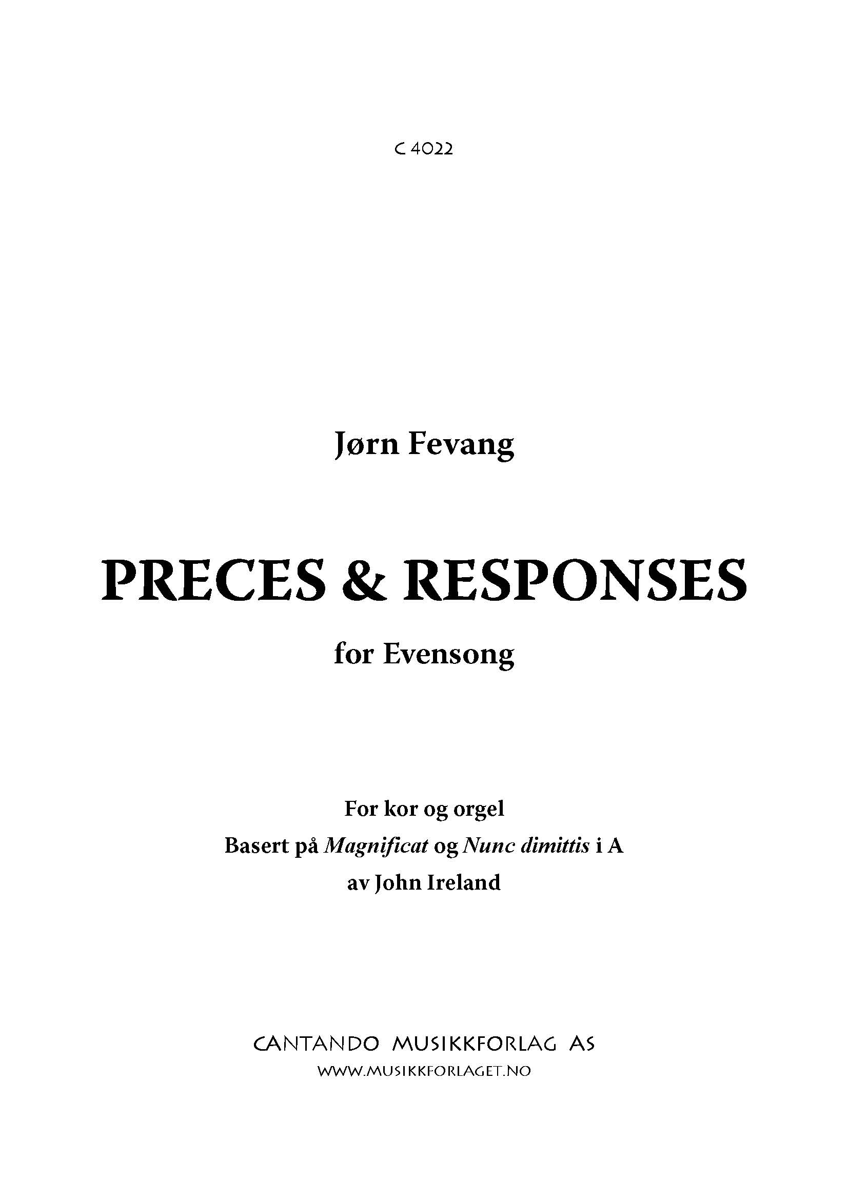 Preces & Responses - for Evensong