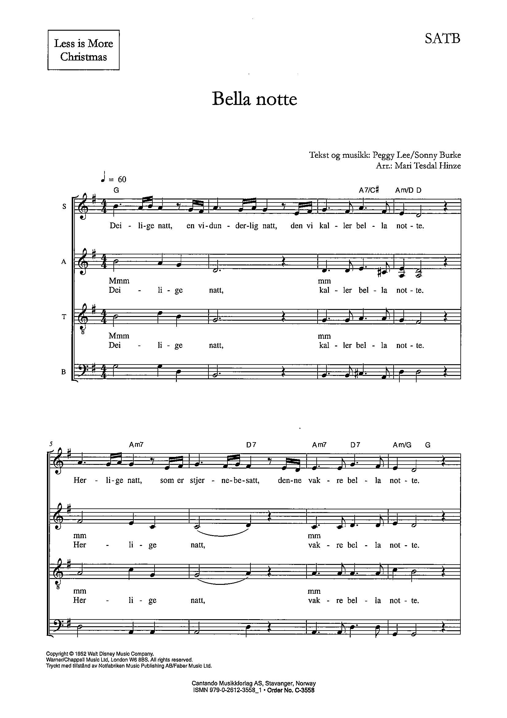 Bella notte - SATB (digital vare)